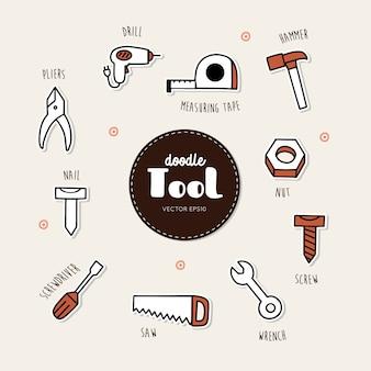 Vector conjunto de iconos de herramientas. mano dibujar vector doodle ...