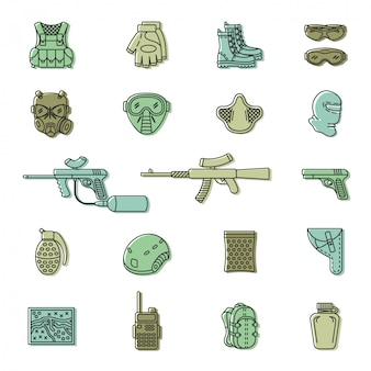 Vector conjunto de iconos de paintball o airsoft de color