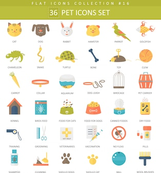 Vector conjunto de iconos planos de color para mascotas. diseño de estilo elegante.