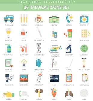 Vector conjunto de iconos planos de color médico. diseño de estilo elegante.