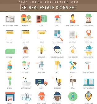 Vector conjunto de iconos planos de color de propiedades inmobiliarias. diseño de estilo elegante.