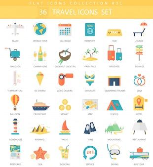 Vector conjunto de iconos planos de color de viaje. diseño de estilo elegante.