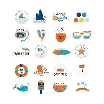 Vector de conjunto de iconos de verano