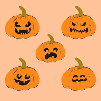 Vector conjunto de ilustración de calabazas con caras de la noche de halloween