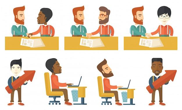 Vector conjunto de ilustraciones con gente de negocios.