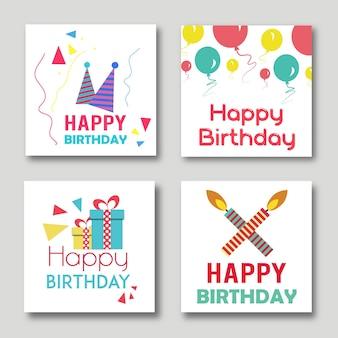 Vector conjunto de ilustraciones de tarjetas de cumpleaños