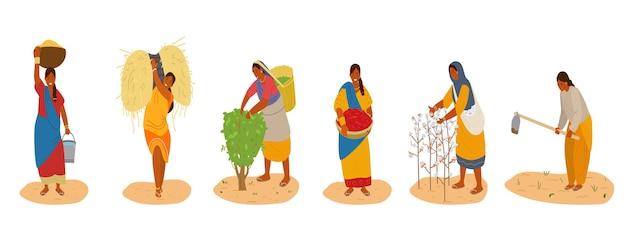 Vector, conjunto, de, indiam, mujeres, trabajando