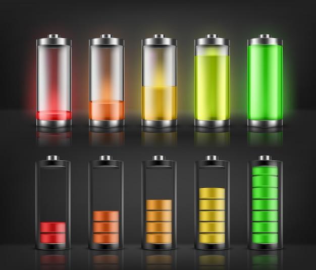 Vector conjunto de indicadores de carga de batería con niveles de energía bajos y altos aislados en el fondo. completo