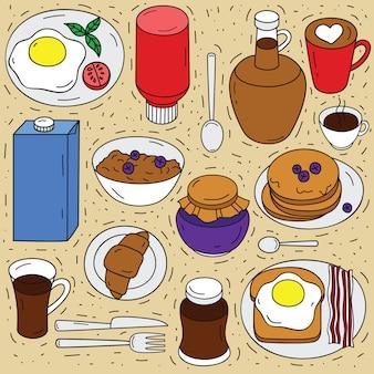 Vector conjunto de ingredientes para el desayuno. boceto dibujado a mano ilustración de la vista superior de los alimentos. elementos de estilo doodle para comer