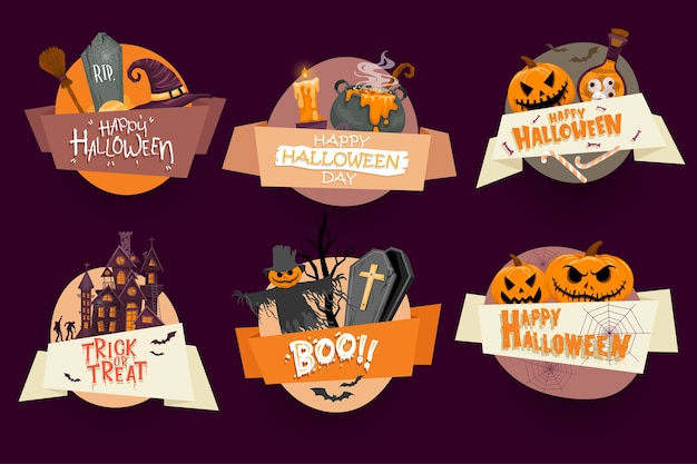 Vector conjunto de invitaciones de fiesta de halloween o tarjetas de felicitación con caligrafía manuscrita y símbolos tradicionales.
