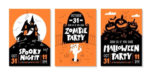 Vector conjunto de invitaciones de fiesta de halloween o tarjetas de felicitación con texto escrito a mano y símbolos tradicionales. ilustración vectorial