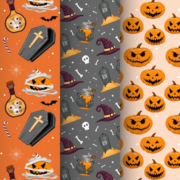 Vector conjunto de invitaciones de fiesta de halloween o tarjetas de felicitación