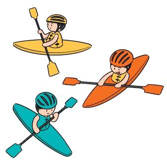 Vector conjunto de kayak