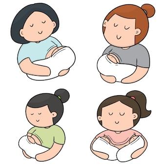 Vector conjunto de lactancia materna madre y bebé