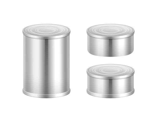 Vector conjunto de latas de acero grandes y pequeñas aisladas sobre fondo blanco