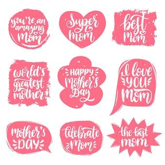 Vector conjunto de letras de la mano del día de las madres en burbujas de discurso para tarjetas de felicitación.