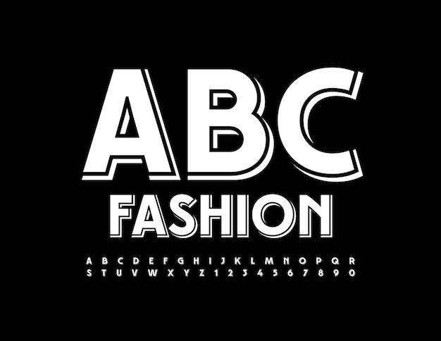 Vector conjunto de letras y números del alfabeto creativo blanco fuente simple de moda