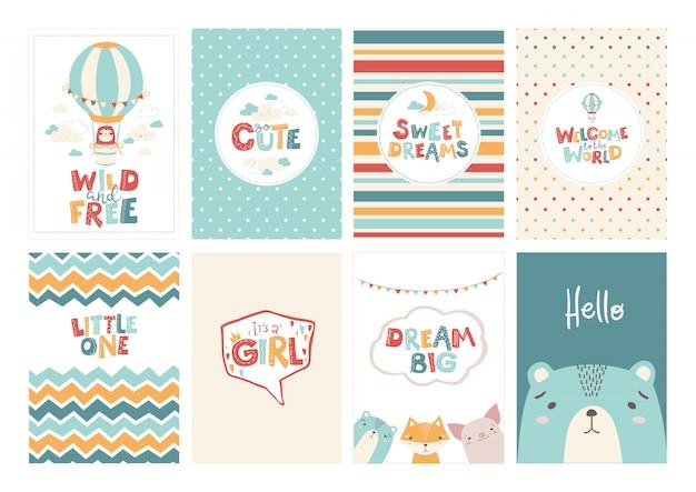Vector conjunto de lindas tarjetas de felicitación para bebé en un estilo escandinavo simple y paleta de colores pastel.