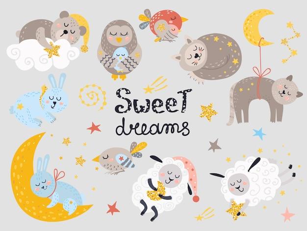 Vector conjunto de lindos animales durmiendo