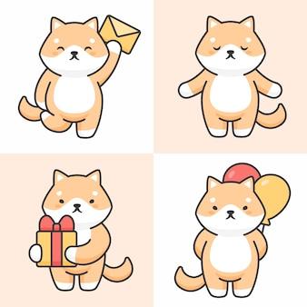 Vector conjunto de lindos personajes de perro shiba inu