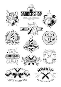 Vector conjunto de logotipos de barbería, señalización