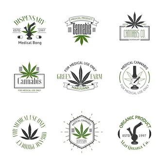 Vector conjunto de logotipos de marihuana medicinal
