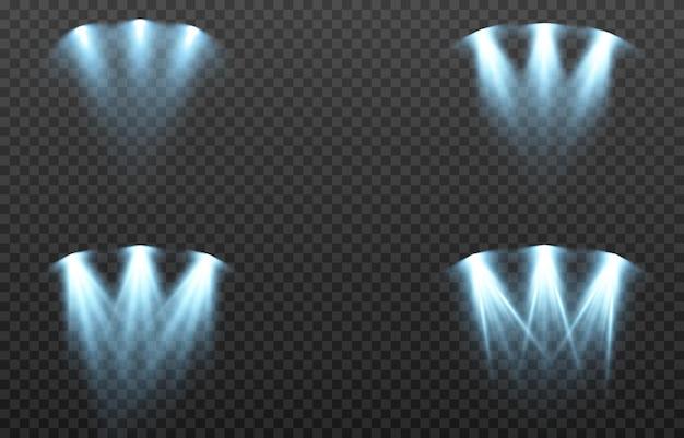 Vector conjunto de luz fuente de luz estudio iluminación paredes png luz azul iluminación puntual