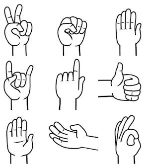 Vector conjunto de mano y gestos.