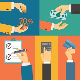 Vector conjunto de manos, compra pago crédito plano retro ilustración