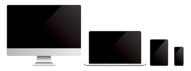 Vector conjunto de maquetas de dispositivos de tecnología moderna