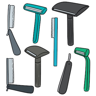 Vector conjunto de maquinilla de afeitar