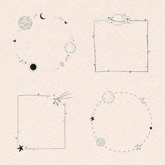 Vector de conjunto de marco de galaxia de arte de línea mínima