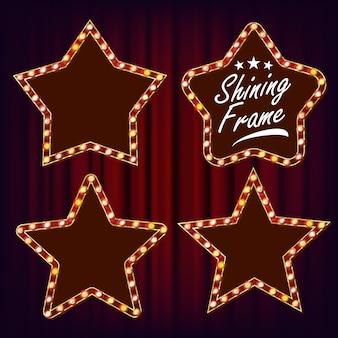 Vector conjunto de marco retro estrella. lámpara realistic shine star frame. cartelera que brilla intensamente eléctrica 3d. luz de neón iluminada vintage. carnaval, circo, estilo casino. ilustración