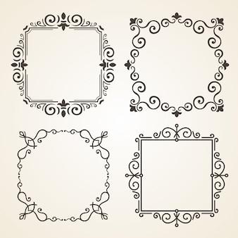 Vector conjunto de marcos decorados de decoración