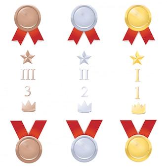 Vector conjunto de medallas con números