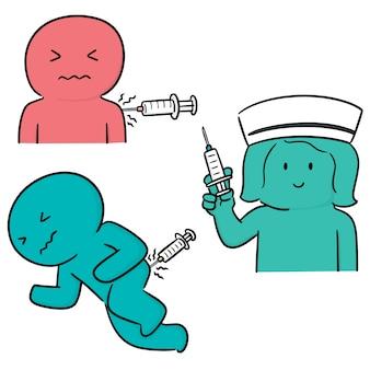 Vector conjunto de medicina inyectable