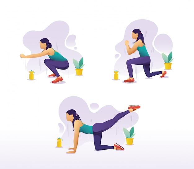Vector conjunto de una mujer haciendo ejercicios de piernas en casa