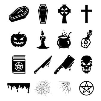 Vector, conjunto, de, negro, siluetas, y, iconos, de, objetos, elementos, y, decoraciones, para, halloween
