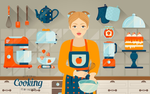 Vector conjunto de objetos de cocina.