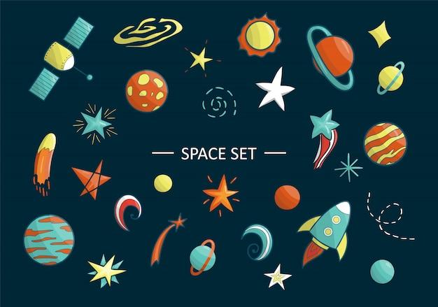Vector conjunto de objetos espaciales. ilustración de imágenes prediseñadas de espacio. planeta brillante, cohete, estrella, ovni, galaxia, luna, nave espacial, sol en estilo de dibujos animados