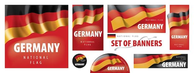 Vector conjunto de pancartas con la bandera nacional de alemania.