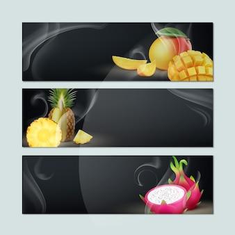 Vector conjunto de pancartas vacías con humo, mango, piña, fruta del dragón y fondo negro para publicidad de tabaco hookah