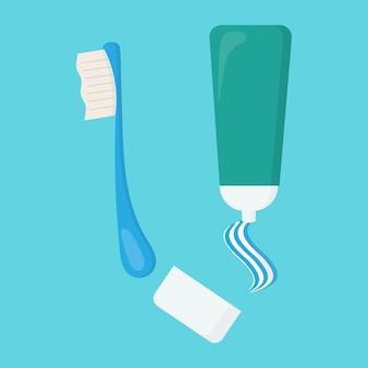 Vector conjunto de pasta de dientes y cepillo de dientes