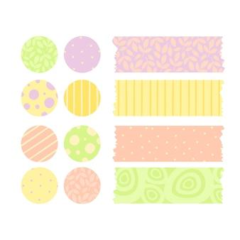 Vector conjunto de pegatinas y cinta adhesiva