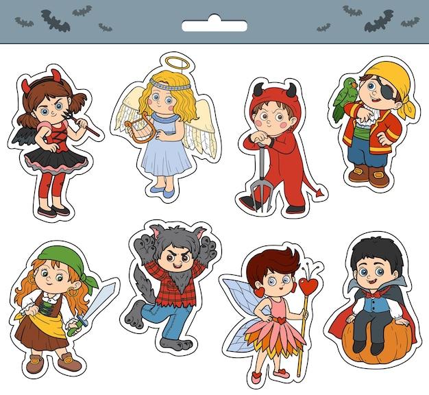 Vector conjunto de pegatinas de dibujos animados de color de personajes de niños de halloween con niños en disfraces de carnaval