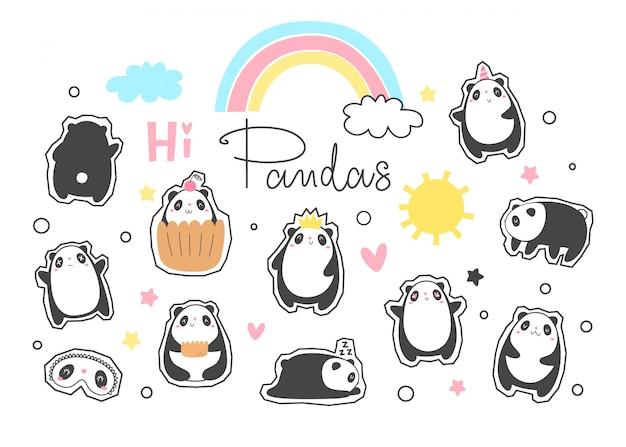 Vector conjunto de pegatinas de panda