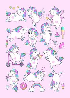 Vector conjunto de pequeños unicornios lindos con melena de arco iris