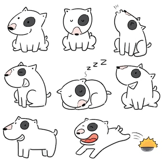 Vector conjunto de perro, bull terrier