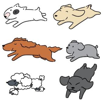 Vector conjunto de perro corriendo