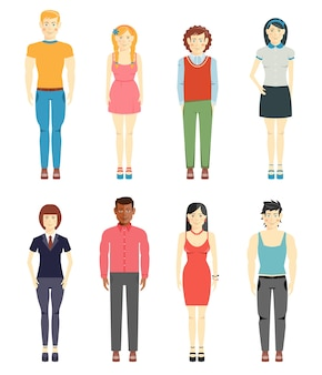 Vector conjunto de personajes casuales de hombres y niñas jóvenes aislado